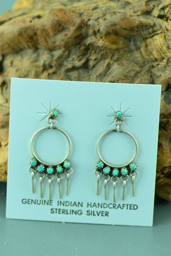 Zuni Petite Point Turquoise Earrings