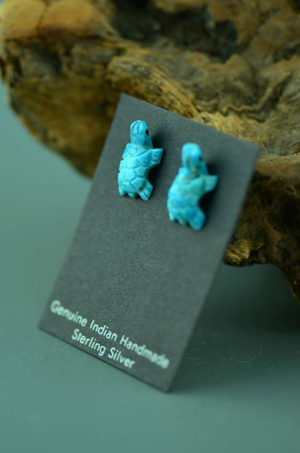 Navajo– Hand Carved Turquoise Turtle Fetish Earrings by Christopher McCabe