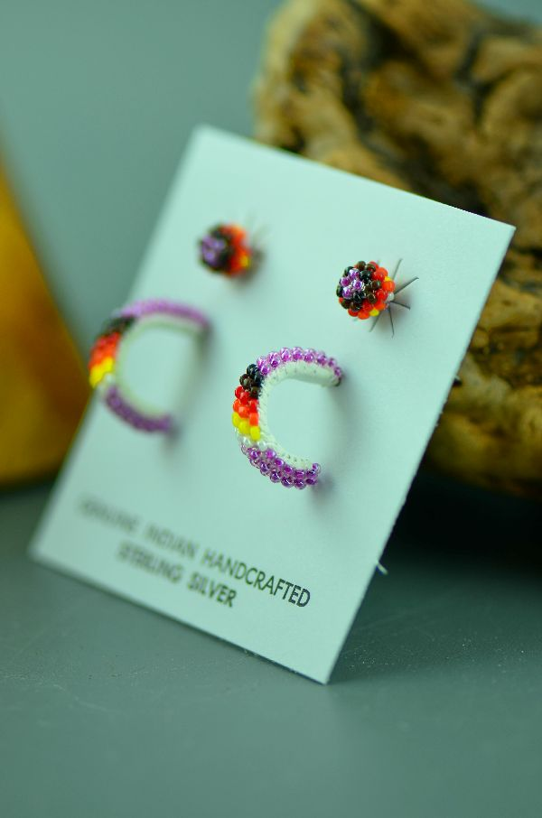 Navajo – Multi-Colored Seed Bead Sterling Silver Half Hoop and Stud Earrings by Thelma Arviso