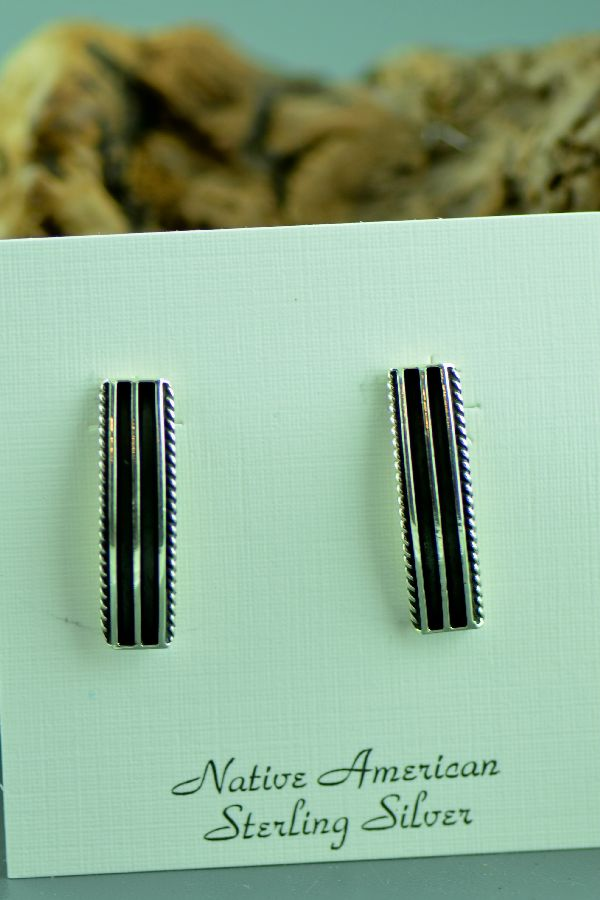 Navajo - Sterling Silver Earrings by Tom Yazzie