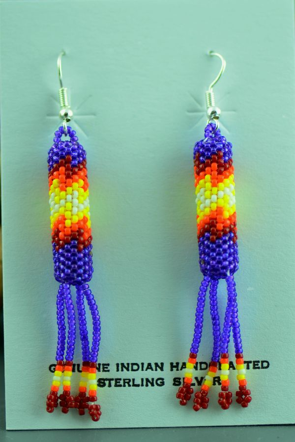 Zuni – Multi-Colored Seed Bead Sterling Silver Earrings by Habana Tsalate