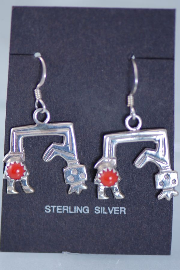 Navajo – Sterling Silver Coral Yei Be Che Kachina Earrings