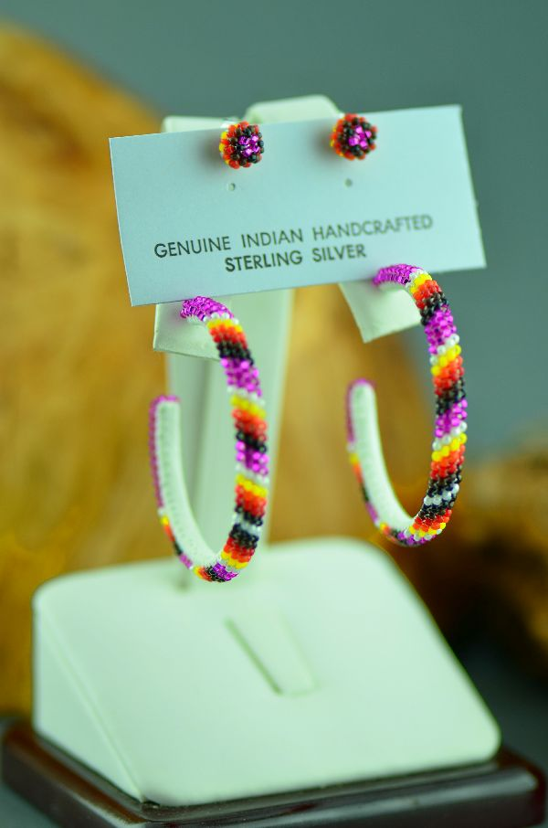 Navajo – Multi-Colored Seed Bead Sterling Silver Hoop and Stud Earrings by Thelma Arviso