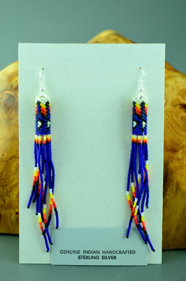 Navajo– Long Multi-Colored Seed Bead Sterling Silver Earrings by Lorraine Burbank