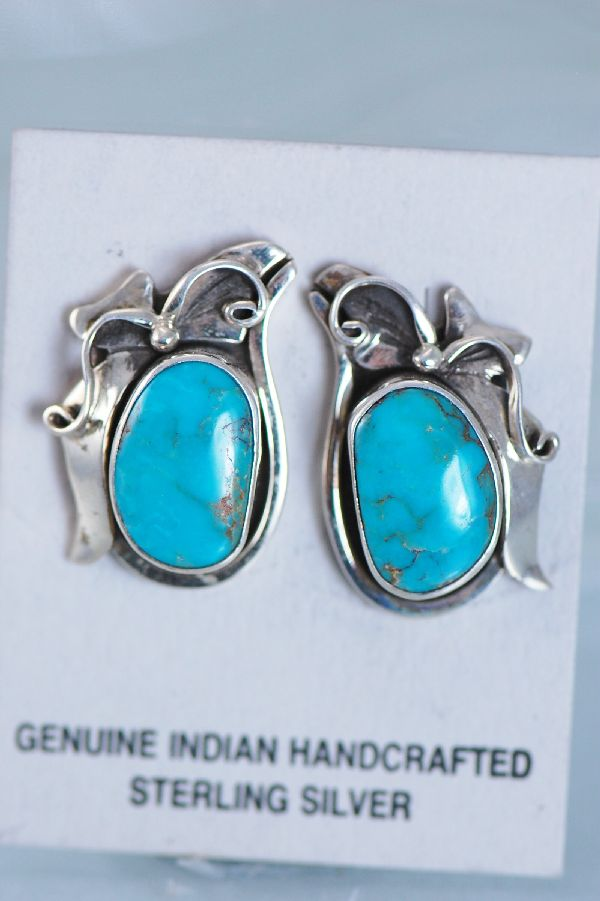 Les Baker –Turquoise Sterling Silver Post Earrings