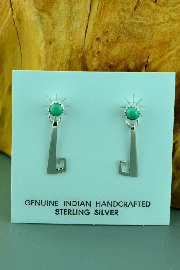 Navajo – Sterling Silver Kingman Turquoise Earrings by Paulson Thomas