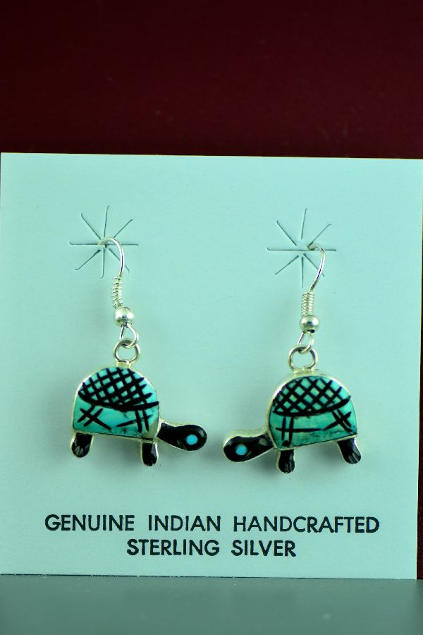 Zuni - Sterling Silver Inlaid Turquoise and Jet Turtle Earrings by Valerie Comosana