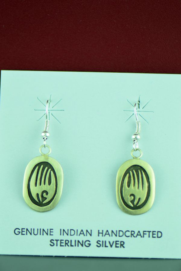 Navajo - Sterling Silver Bear Paw Earrings by Stanley Gene