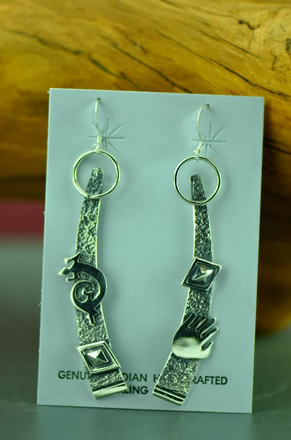 Navajo – Contemporary Sterling Silver Earrings by Jack Tom