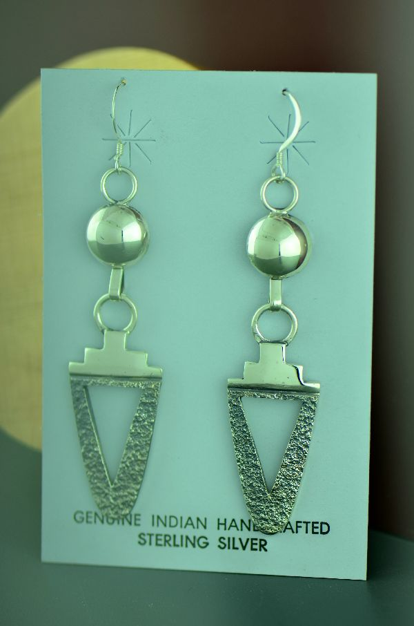 Jack Tom Contemporary Sterling Silver Earrings - Navajo