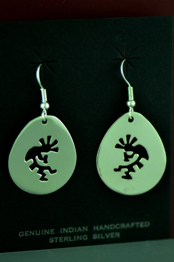 Navajo – Sterling Silver Kokopelli Earrings by Kee Begay