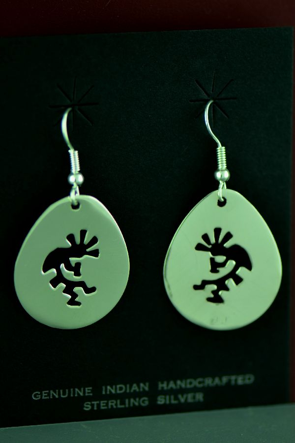 Navajo Sterling Silver Kokopelli Earrings by Kee Begay