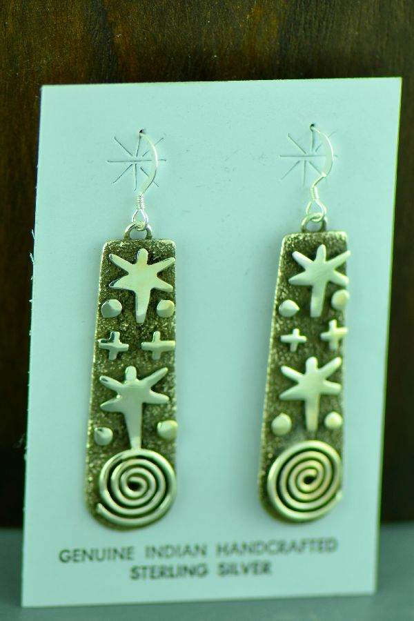 Zuni/Navajo Sterling Silver Petroglyph Earrings by Award Winning Artist Alex Sanchez
