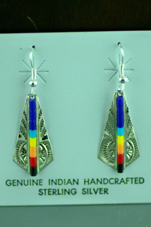 Navajo Lapis Turquoise and Coral Earrings