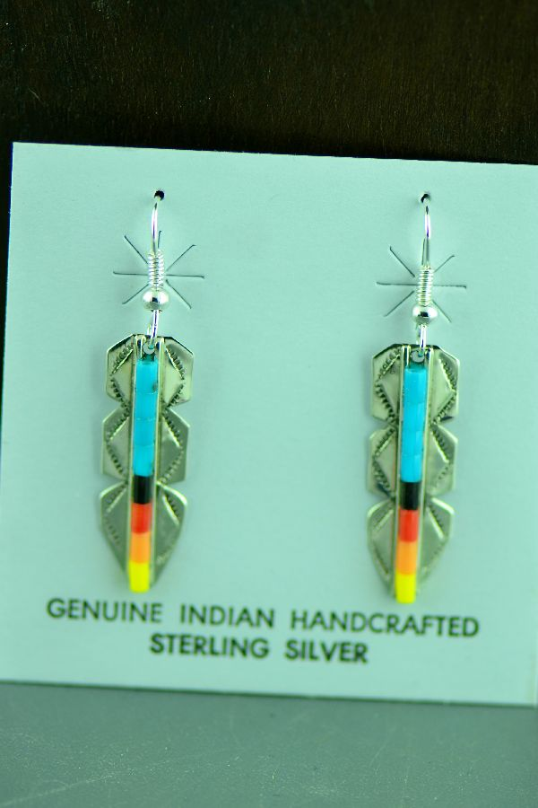 Navajo Sterling Silver Enhanced Turquoise, Yellow, Orange and Mellon Shell Heishi Feather Earrings by Linda and Alvin James