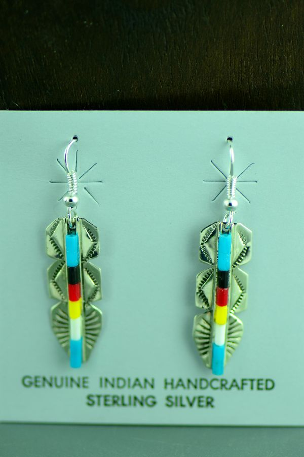 Navajo Sterling Silver Enhanced Turquoise, Coral, Jet and Shell Heishi Feather Earrings by Linda and Alvin James