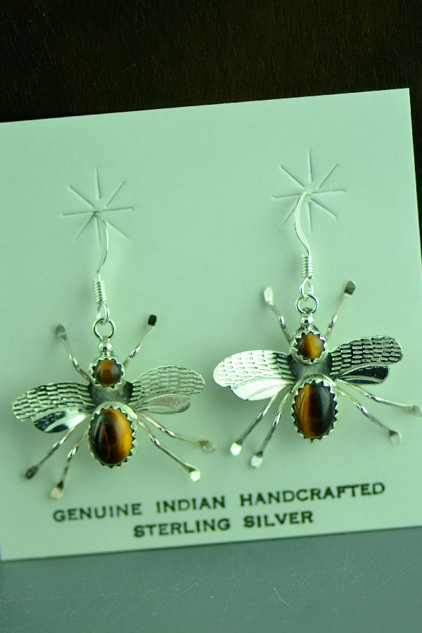 Navajo Sterling Silver Tiger Eye Bumble Bee Earrings by Juan Begay Jr