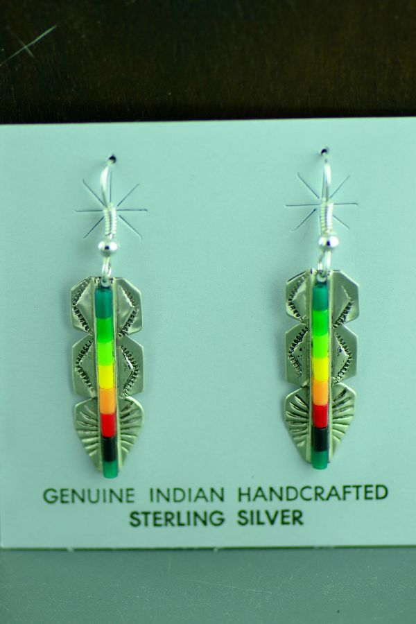 Navajo Sterling Silver Enhanced Malachite, Gaspeite, Jet, and Yellow and Orange Shell Heishi Feather Earrings by Linda and Alvin James