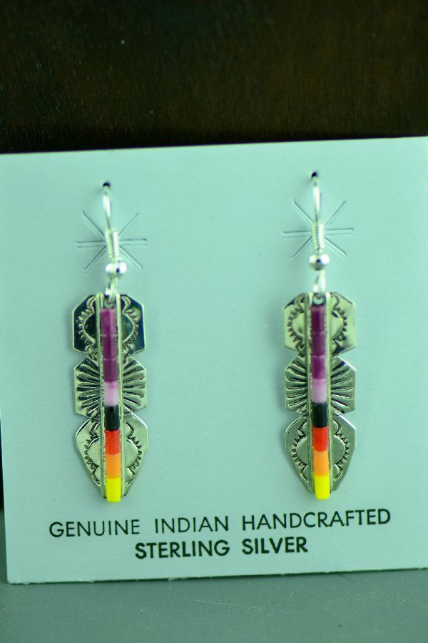 Navajo Sterling Silver Enhanced Charoite, Jet, Coral, Yellow and Orange Shell Heishi Feather Earrings by Linda and Alvin James