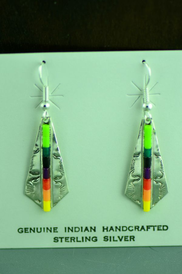 Heishi Sterling Silver Navajo Earrings