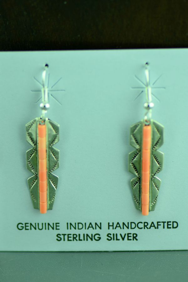 Navajo – Sterling Silver Feather Melon Shell Heishi Earrings by Linda and Alvin James