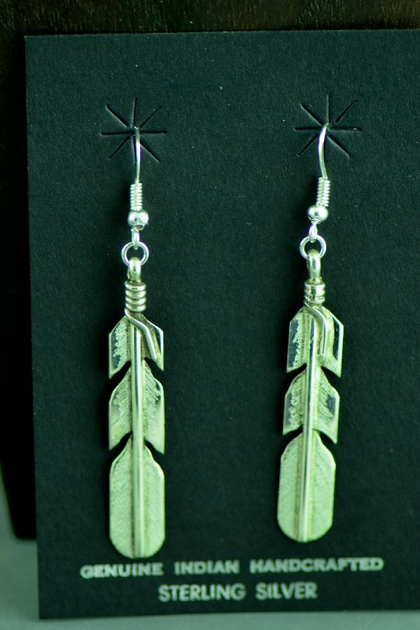 Navajo Sterling Silver Feather Earrings by Rick Enriquez