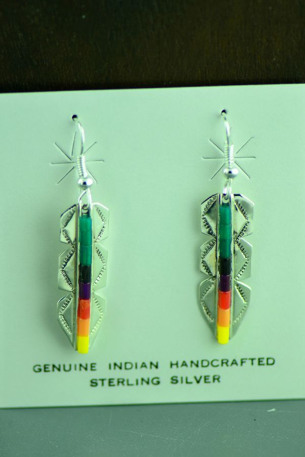 Navajo Sterling Silver Feather Malachite, Coral, Jet, Purple, Melon and Yellow Heishi Earrings by Linda and Alvin James