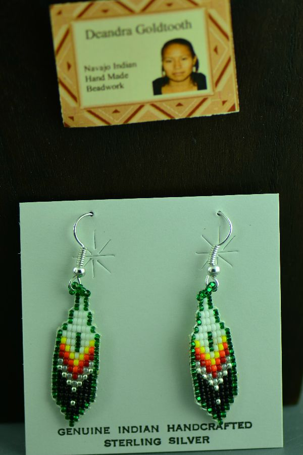 Navajo Deandra Goldtooth Sterling Silver Beaded Prayer Feather Earrings