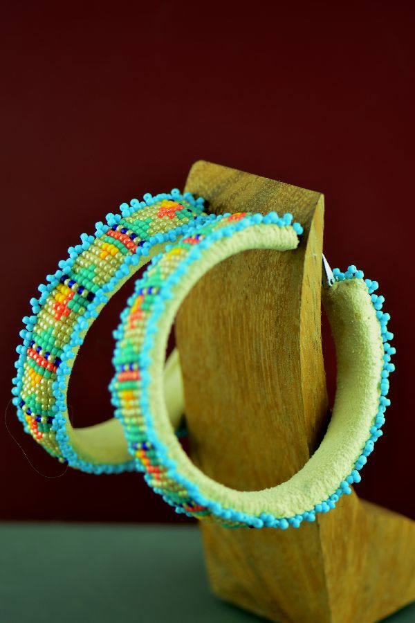 Cherokee/Creek Large Traditional Multi-Colored Beaded Hoop Earrings by Frances Golden Hawk Neeley