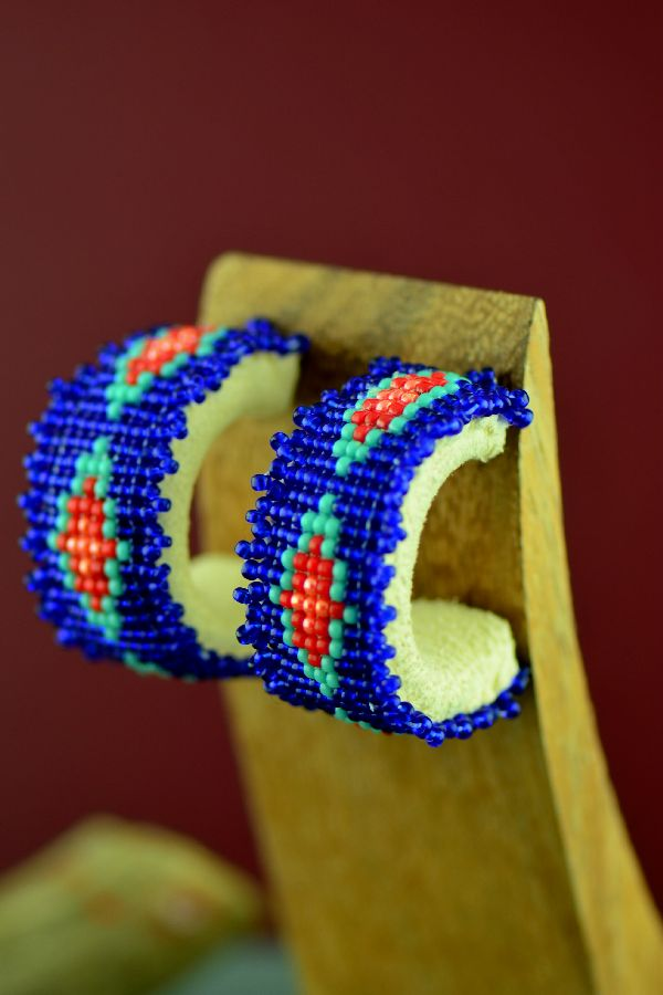 Cherokee/Creek Traditional Multi-Colored Beaded ¾ Hoop Earrings by Frances Golden Hawk Neeley