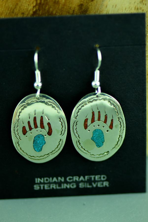 Native American Sterling Silver Chip Inlay Turquoise and Coral Bear Paw Earrings by Kee Begay