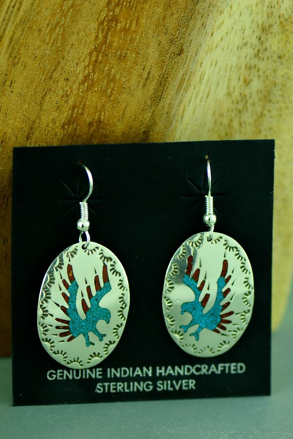 Navajo Sterling Silver Chip Inlay Turquoise and Coral Eagle Earrings by Kee Begay