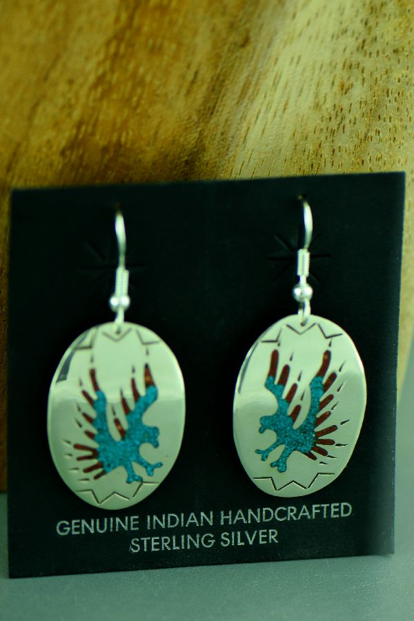 Kee Begay Sterling Silver Chip Inlay Turquoise and Coral Eagle Earrings Navajo