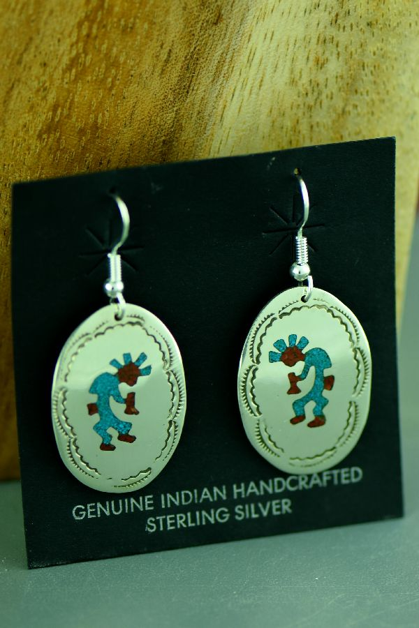 Navajo Sterling Silver Chip Inlay Turquoise and Coral Kokopelli Earrings by Kee Begay