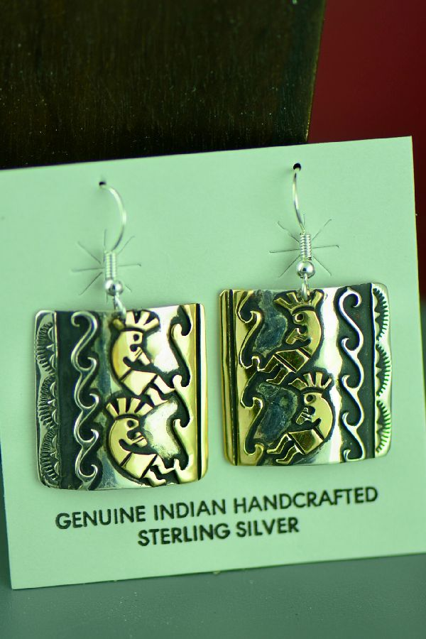 Navajo Sterling Silver and 12ktGF Kokopelli and Water Earrings by Tommy and Rosita Singer