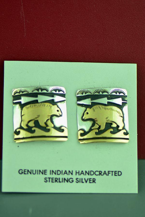 Navajo Sterling Silver and 12ktGF Bear Earrings by Tommy and Rosita Singer