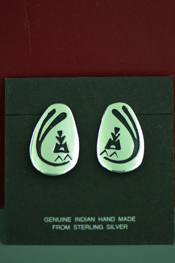 Navajo Sterling Silver Wind and Teepee Earrings by the late Tommy Singer