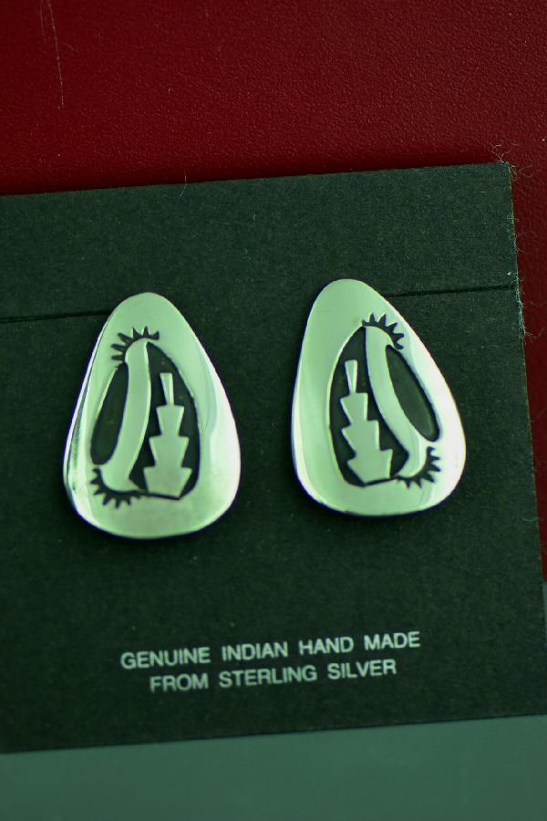 Navajo Sterling Silver Sun and Cactus Earrings by the late Tommy Singer