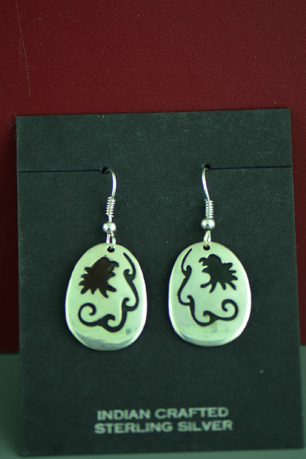 Navajo Sterling Silver Water and Eagle Earrings by the late Tommy Singer