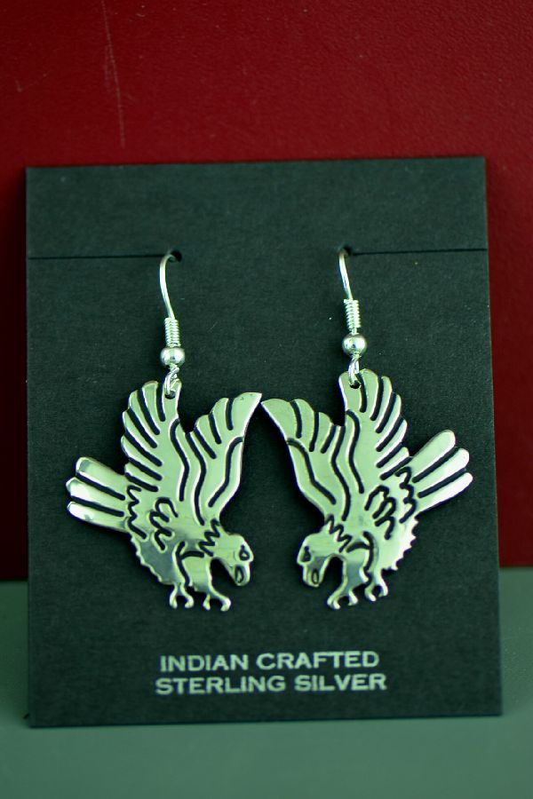 Navajo Sterling Silver Eagle Earrings by the late Tommy Singer