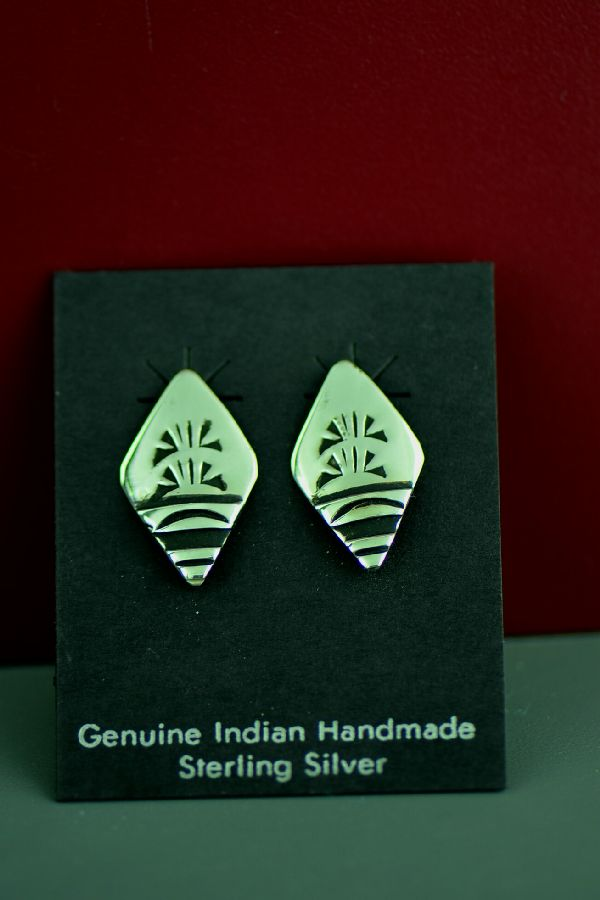 Navajo Traditional Sterling Silver Earrings by the late Tommy Singer