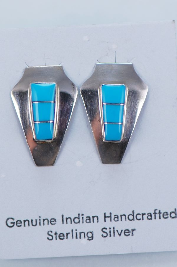 Zuni – Sterling Silver Inlaid Turquoise Earrings