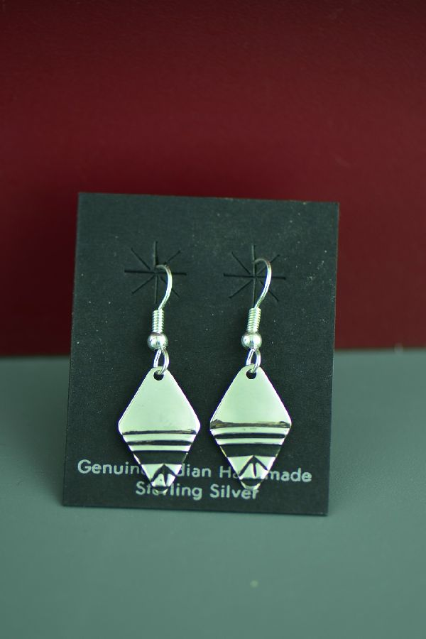 Navajo Tommy Singer Traditional Sterling Silver Earrings