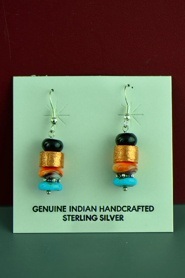 Tommy Singer Silver and Copper Earrings