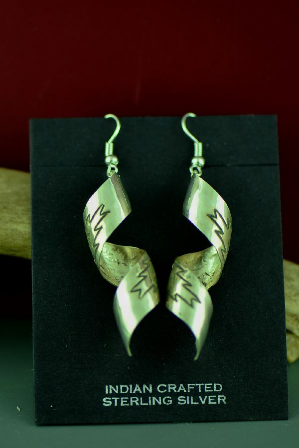 Navajo Sterling Silver Hand Stamped Rug Pattern Earrings by Rhonda Largo