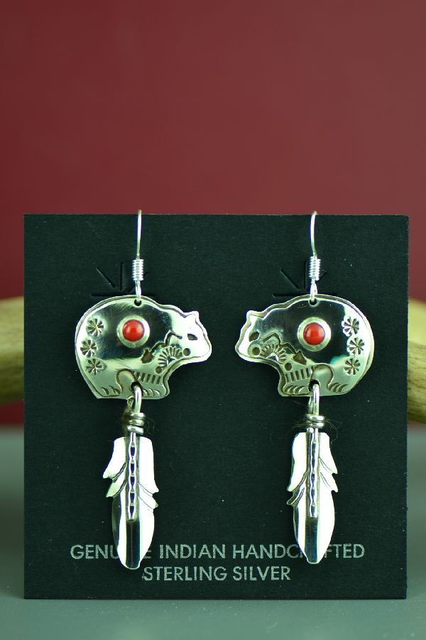 Navajo Sterling Silver Bear and Feather Earrings with Mediterranean Coral by Jeff James
