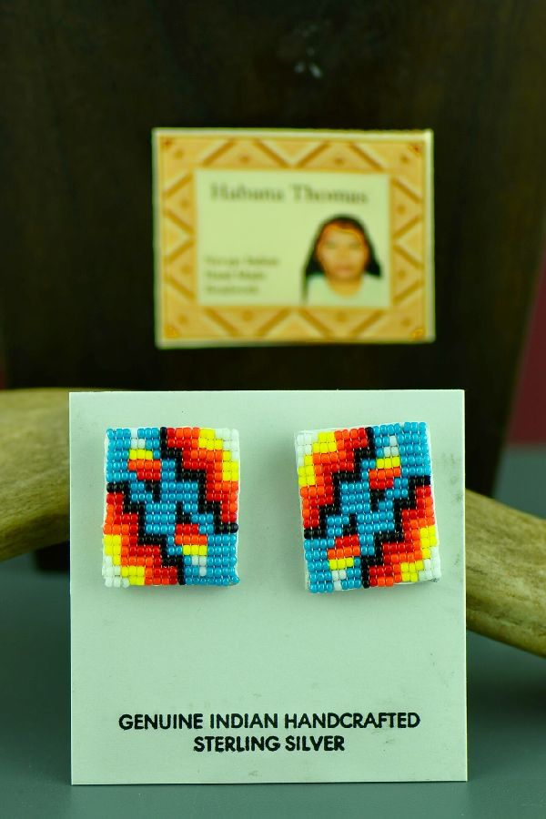 Navajo Multi-Colored Beaded Sterling Silver Earrings by Habana Thomas
