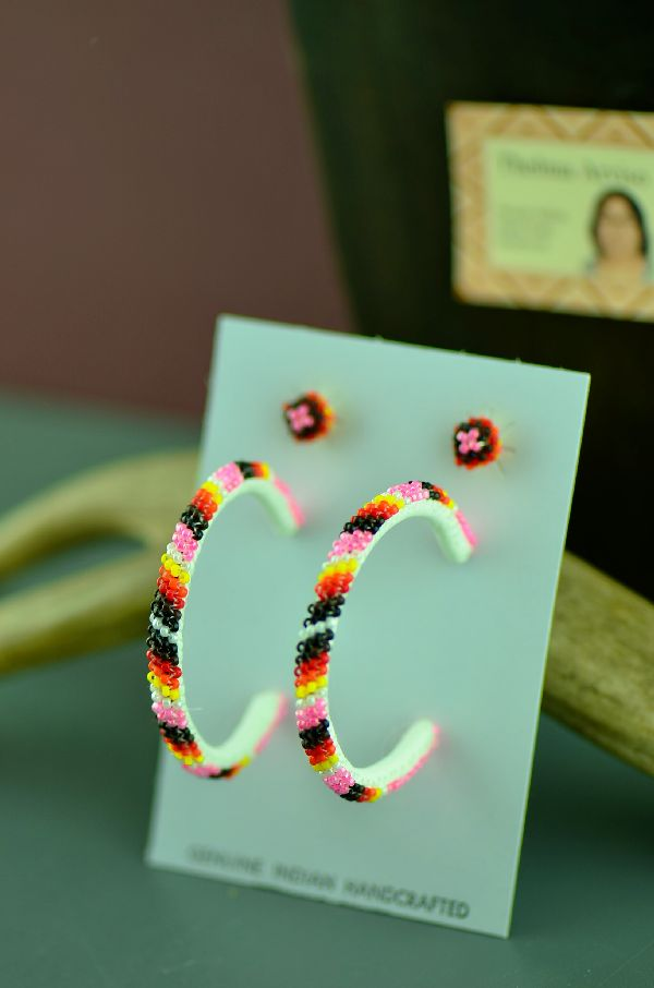 Navajo Multi-Colored Seed Bead Hoop and Stud Earrings by Thelma Arviso