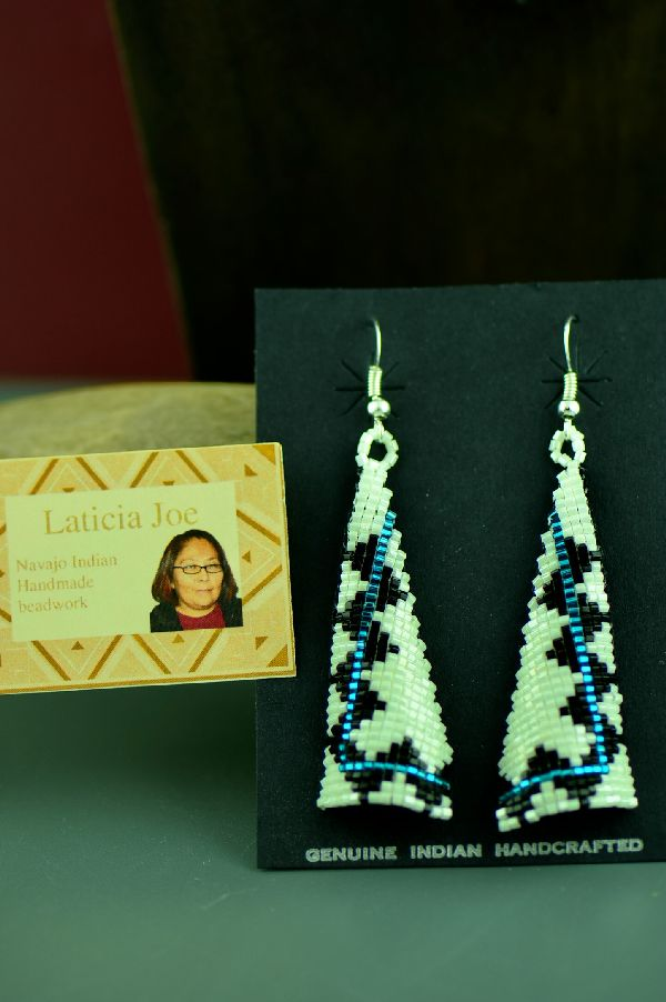 Navajo Colorful Beaded Sterling Silver Earrings by Laticia Joe