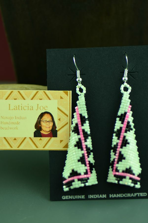Navajo Sterling Silver Beaded Earrings by Laticia Joe